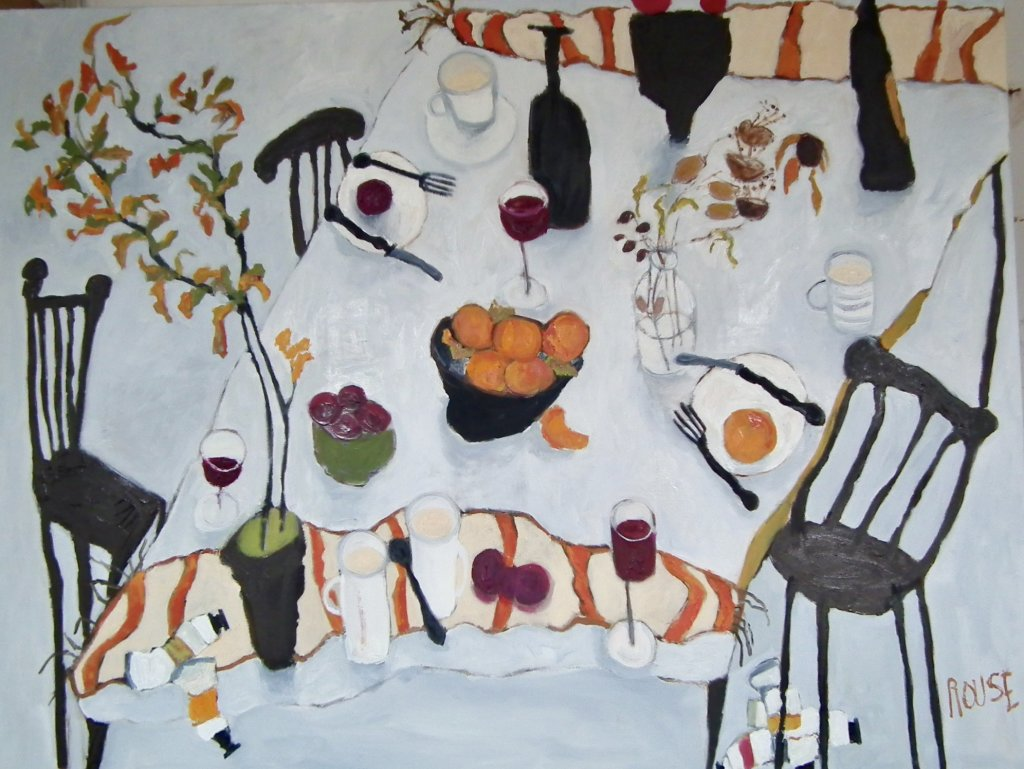 Table with Plant in Pot<br>Oil on Canvas, 91x120cm<br>SOLD