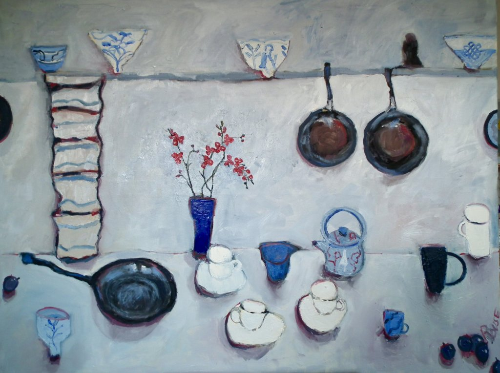 Table With Pans and Orchid