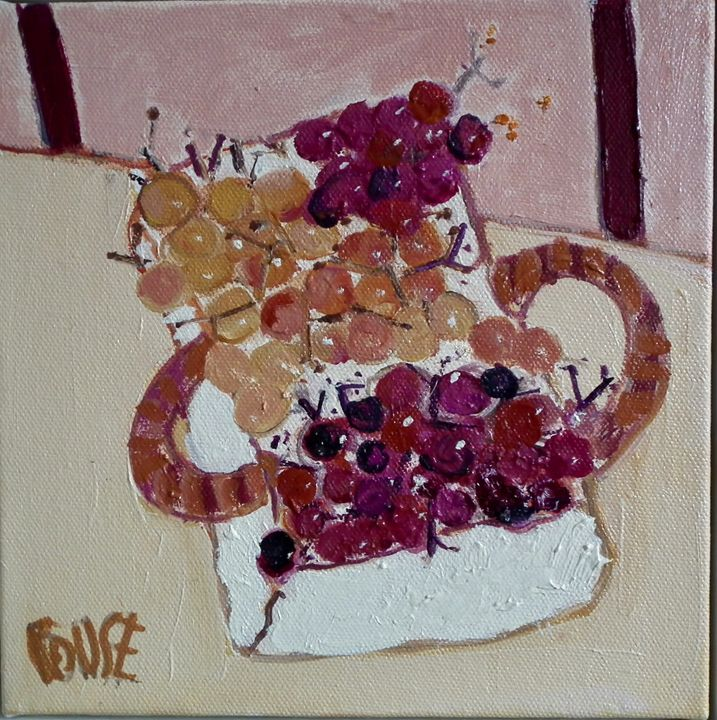 Basket of oil on canvas 20x20cms framed