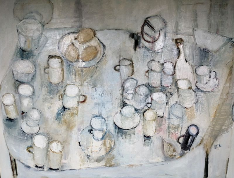 White Mugs and Three Pears, Oil on Canvas, Framed, 91x120cm, 2019