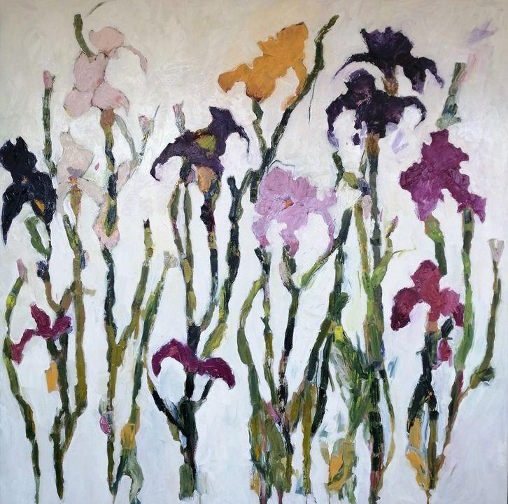 Irises Oil on Canvas Painting