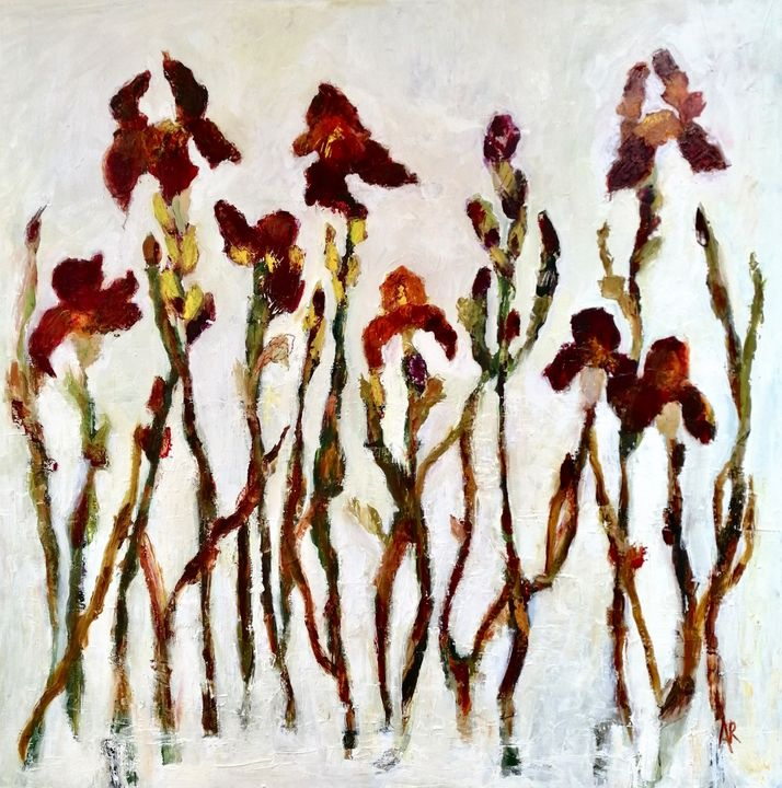 Red Iris Oil on Canvas Painting