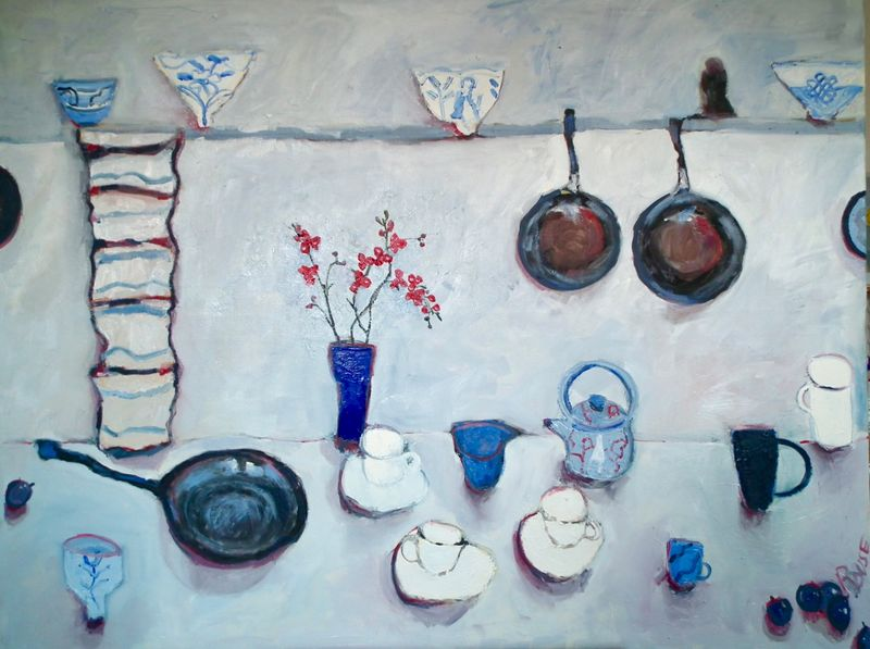 Table With Pans and Orchid Oil on Canvas Framed Painting