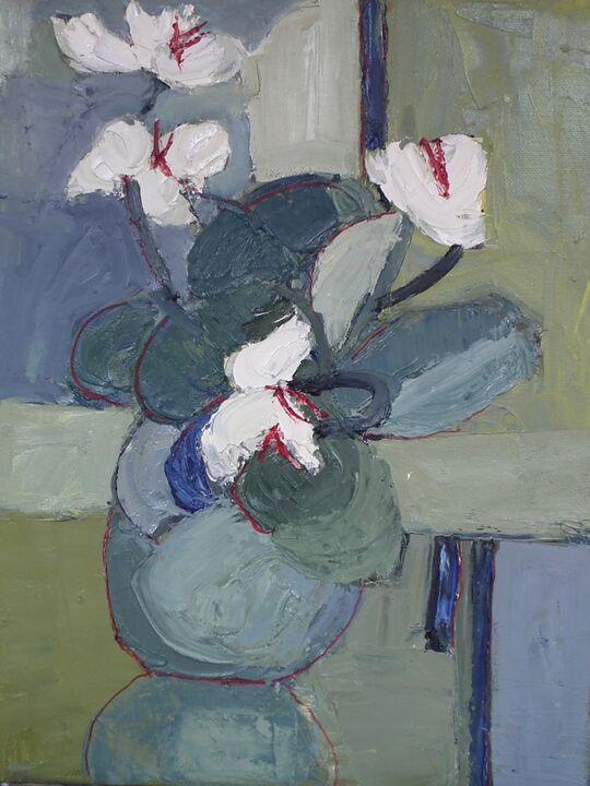 White Cyclamen oil on canvas 36x28cms +frame