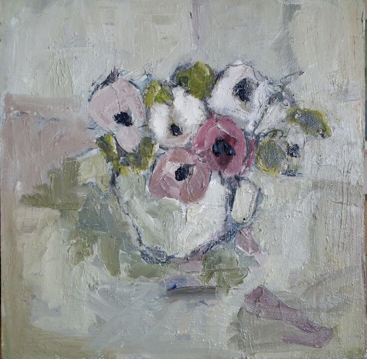Cup of Pansies oil on board 30x30cms