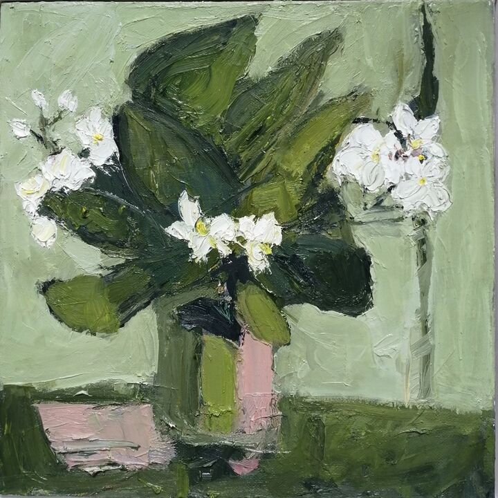 orchid 2 oil on canvas 30x30cms