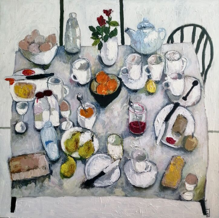 Breakfast Table 100x100cms oil on canvas framed