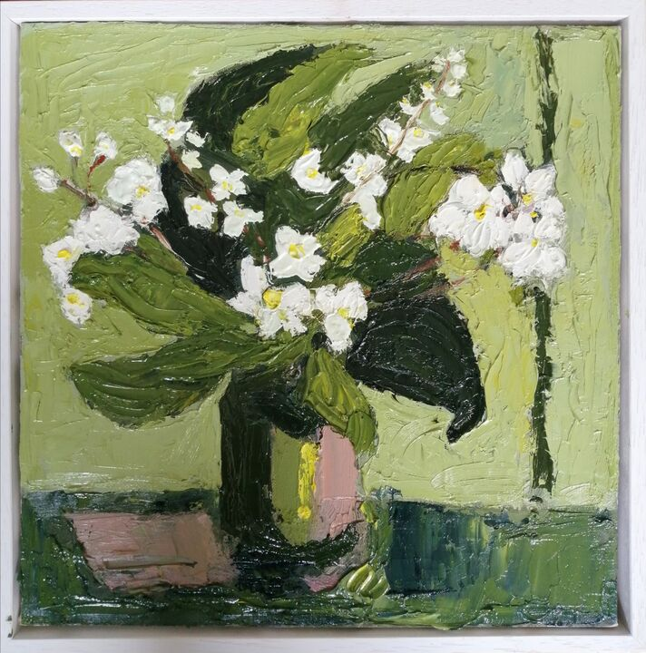 orchid 2 oil on canvas 30x30cms framed