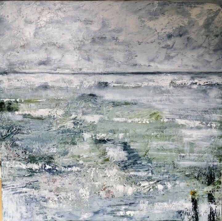 Ocean. oil on canvas framed 100x100cms.