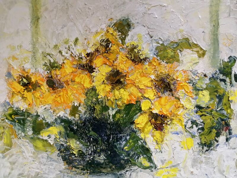 Sunflowers in Bowl oil on canvas 30x40cms framed