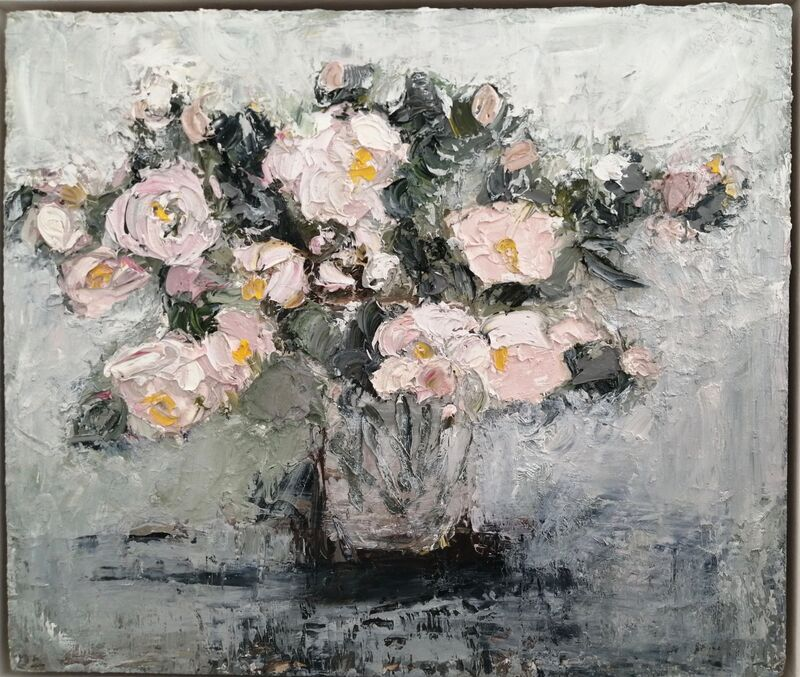 Dog Roses 2 oil on panel 30x36cm. framed