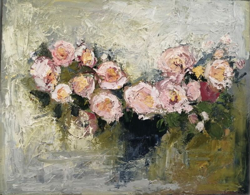 Small Rose Bowl  oil on canvas 40x 50cms framed