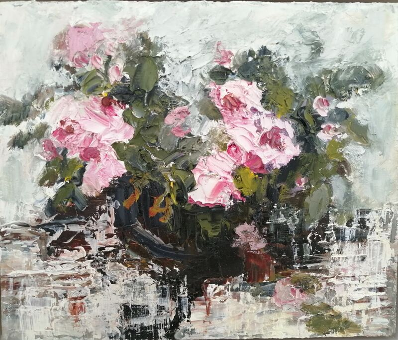 Small Pink Roses oil on panel 26x30cms framed