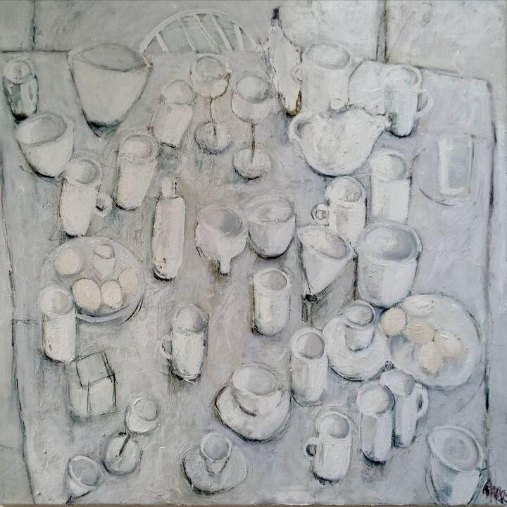 Eggs on White Table oil on canvas 100x100cms. framed