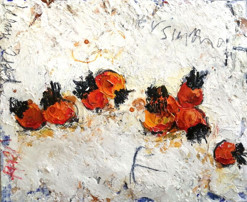 Persimmons II 10X12INS. framed mixed media