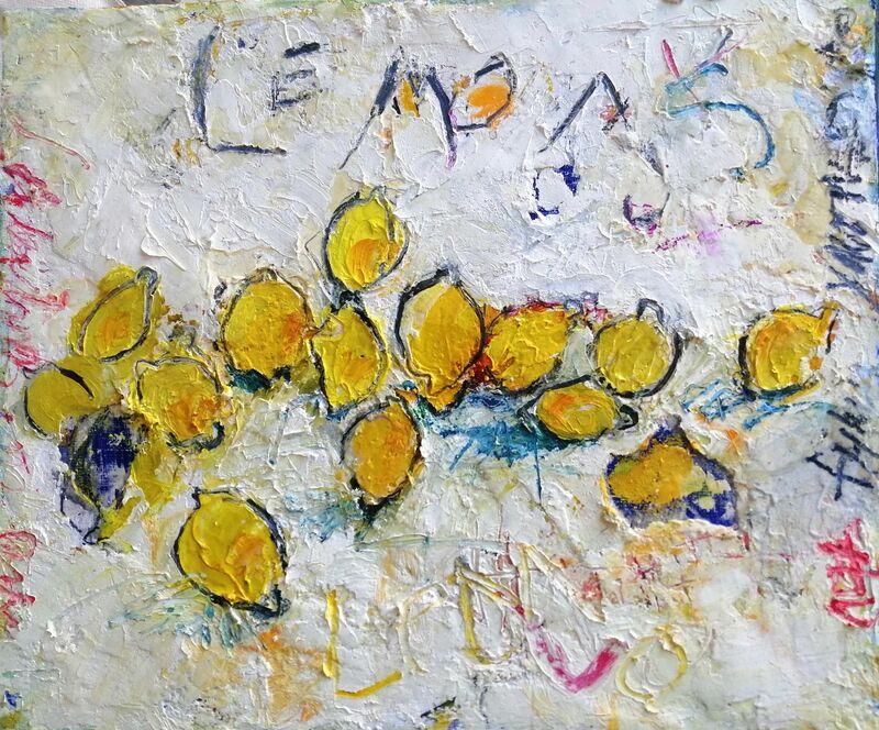 Lemons mixed media framed 10x12ins