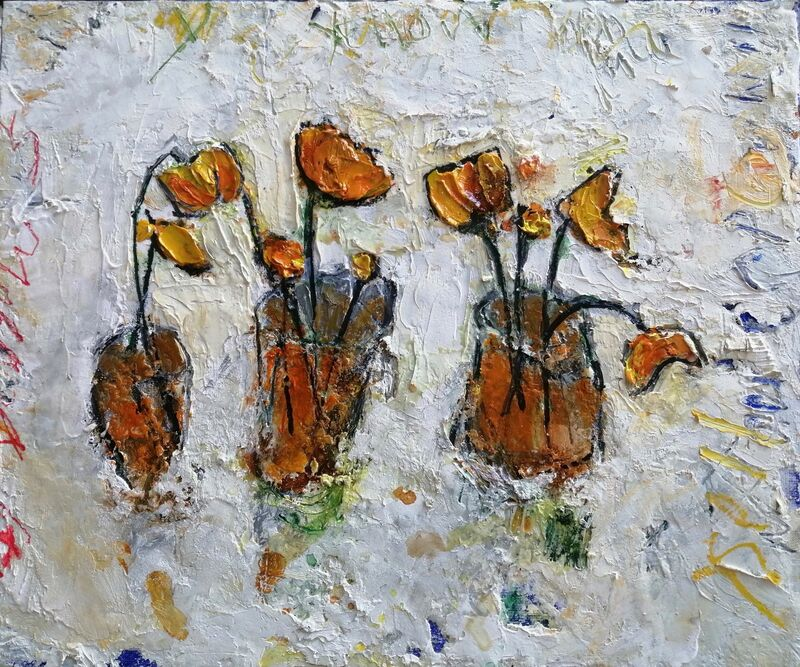 Yellow Flowers in Yellow Pots 10x12ins framed mixed media