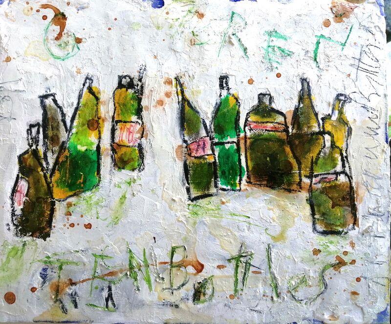 Ten Green Bottles 10x12ins. framed