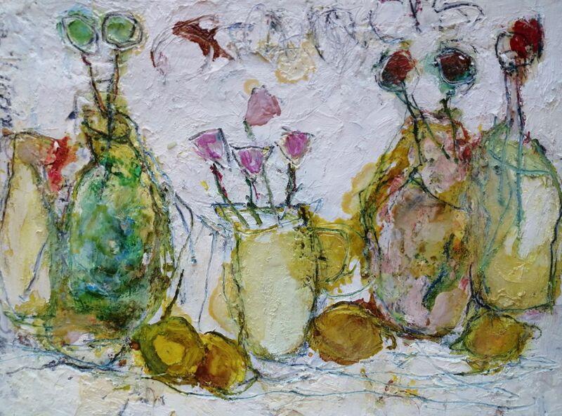 Glazed Bottles and Flowers