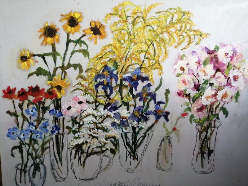 Seven Vases of Summer Flowers