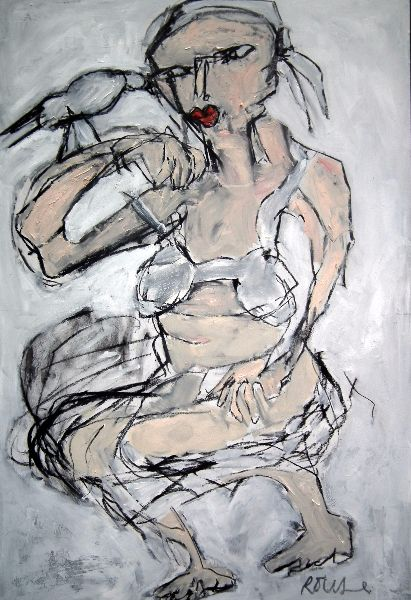 Woman with Bird <br>Mixed Media, Framed, 75x100cm