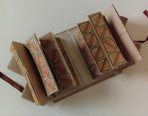 Book open to reveal all six rectangular compartments.