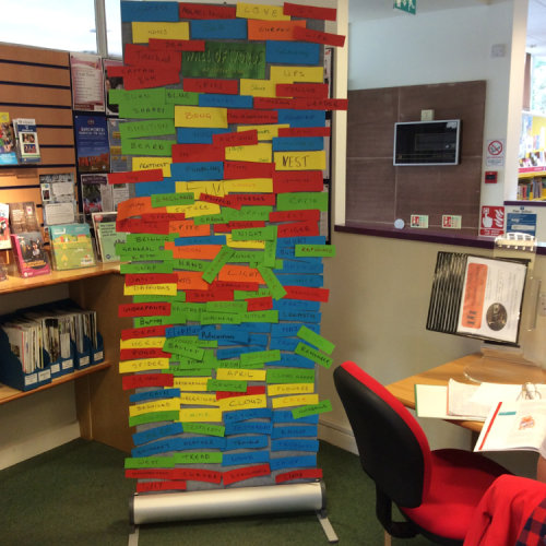 The final WALL OF WORDS in Kenilworth Library