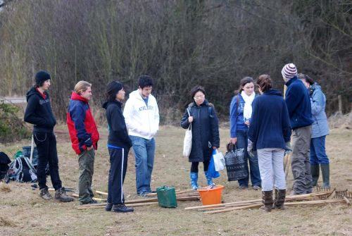 Warwick student volunteers ready to start sowing the wildflower meadow