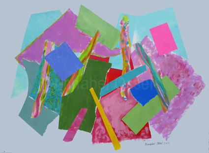 Fracking Fields 1<br>acrylic and paper on paper<br>28 x 39 cms<br>2015<br>SOLD