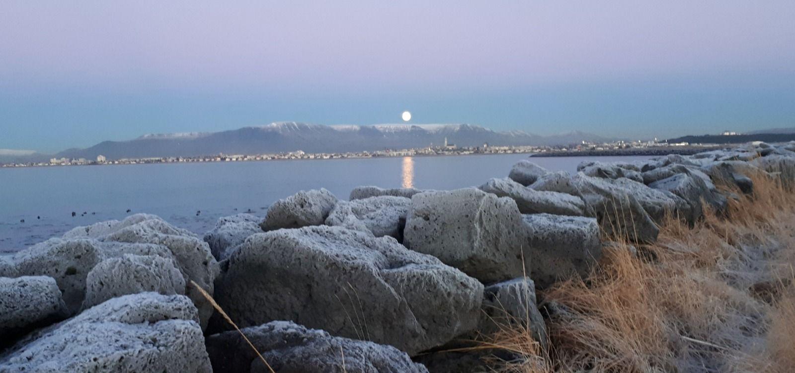 Moonrise over Esja