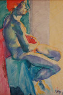 Male nude, seated