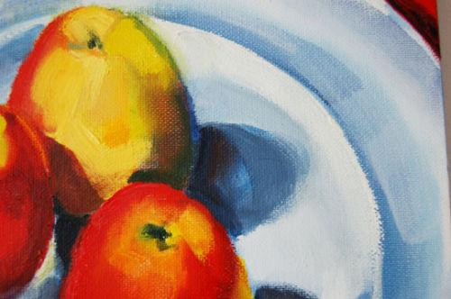Still Life three apples II (blue ground), detail, 2008