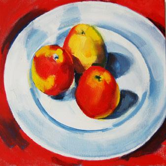 Still life three apples II (blue ground)