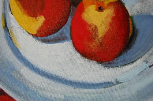 Still Life three apples (green ground), detail, 2008