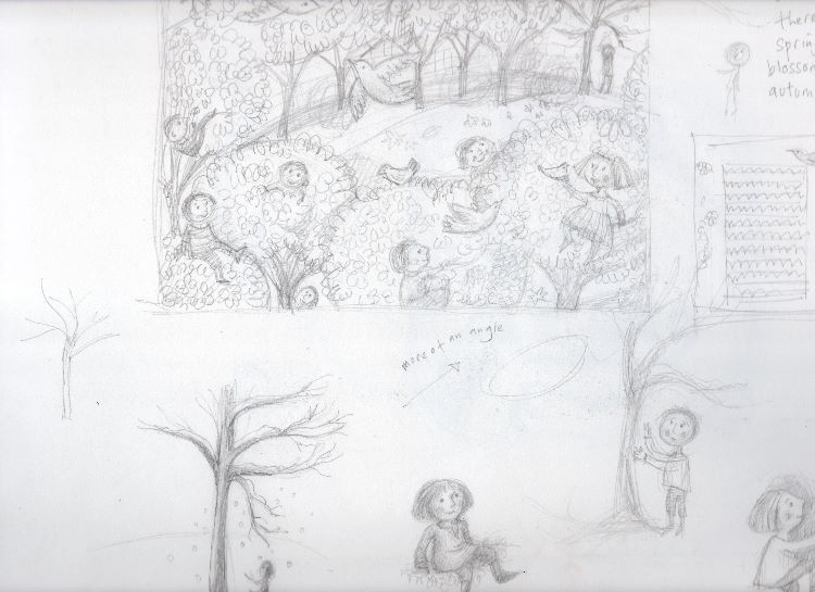 Sketches for The Selfish Giant (rest of  page)