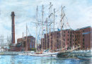 Tall Ships, Albert Dock - pastel and charcoal. Prints only available