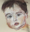 baby aged 1, drawn in pastel and charcoal