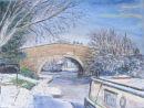 Bridge By The Ship Inn Winter pastel