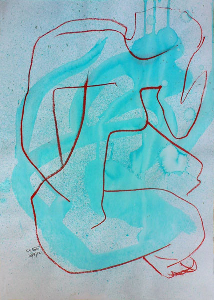 Seated Figure Abstract (Ink)