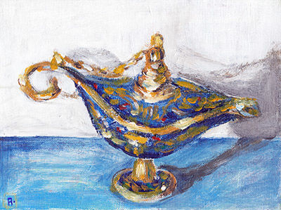 oil lamp painting