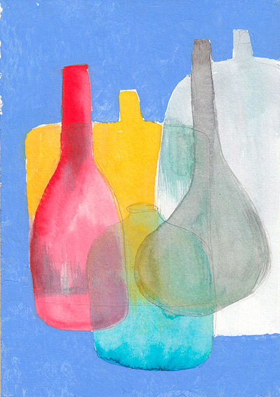 Bottles watercolor painting
