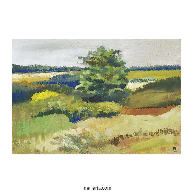 Calm Scenery gouache painting
