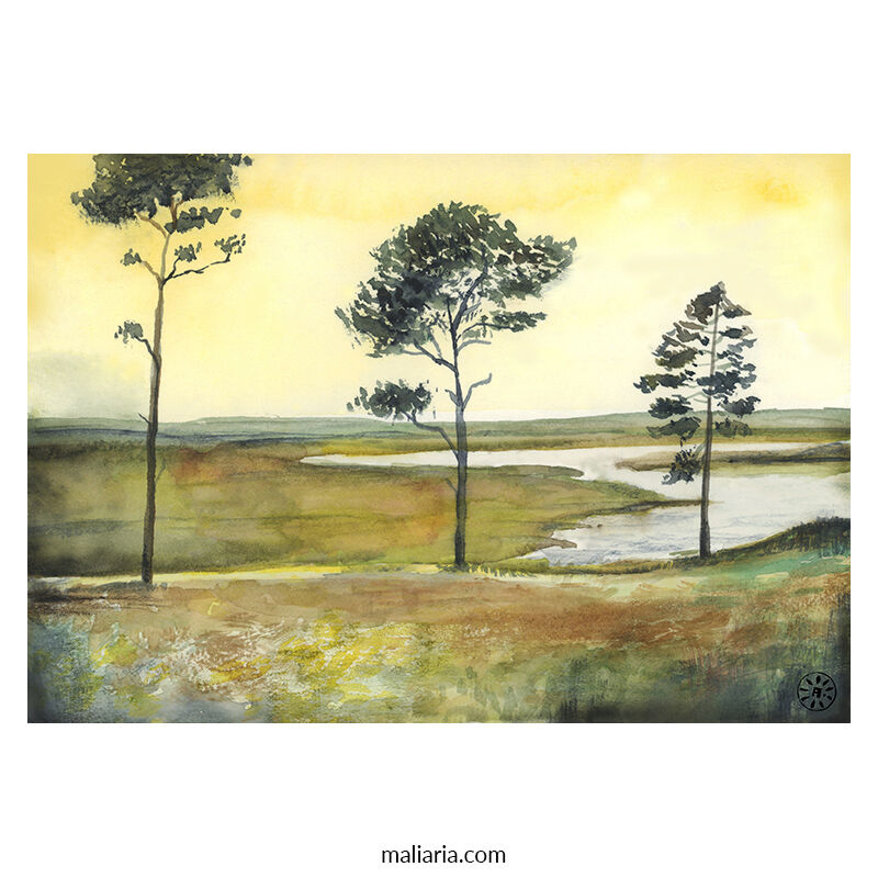 three trees painting watercolor art anton maliar