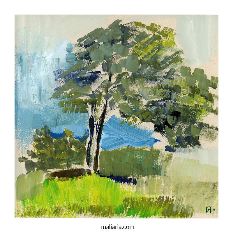 tree study painting gouache cardboard signed anton maliar