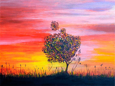 Tree Sunset Painting