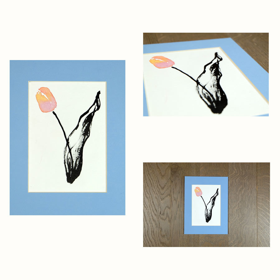original india ink tulip painting