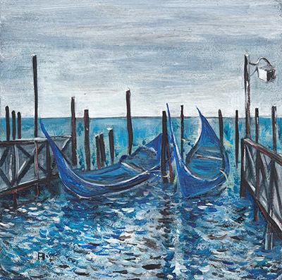 Venice boats painting