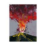 volcano print painting art