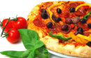 PIZZA WITH TOMS CHEESE,PEPPERS AND OLIVES