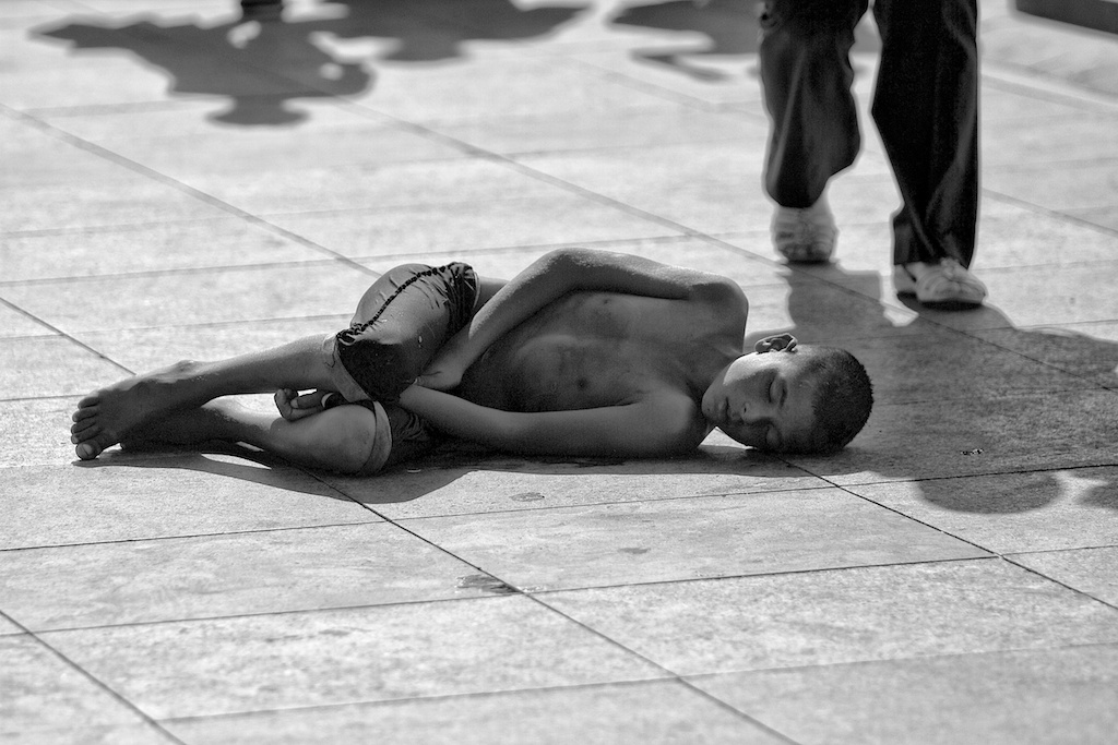 immigrant child is sleeping